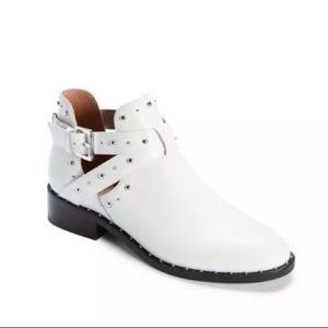 Halogen White Leather Hailey Buckle Bootie NEW
